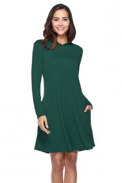 Womens Casual Hooded Long Sleeve Midi Plain Dress Green