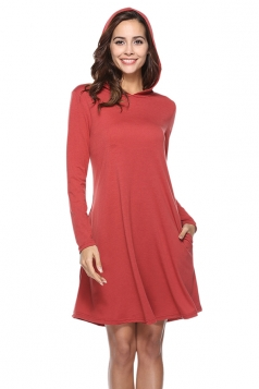 Womens Casual Hooded Long Sleeve Midi Plain Dress Watermelon Red