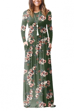 Women Vintage High Waisted Pocket Flower Printed Maxi Dress Army Green