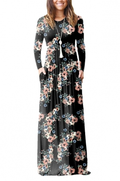 Womens Vintage High Waisted Pocket Flower Printed Maxi Dress Black