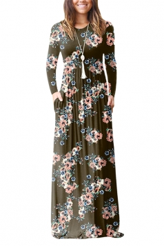 Womens Vintage High Waisted Pocket Flower Printed Maxi Dress Coffee