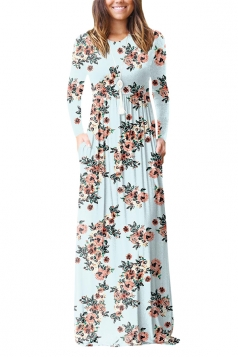 Women Vintage High Waisted Pocket Flower Printed Maxi Dress Light Blue