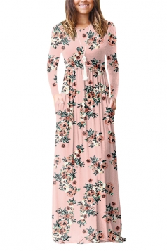 Womens Vintage High Waisted Pocket Flower Printed Maxi Dress Pink