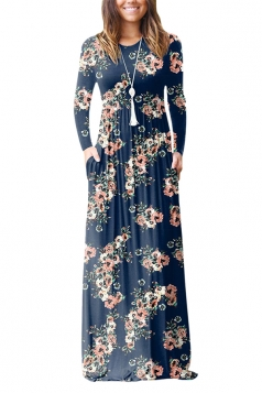 Womens Vintage High Waisted Pocket Floral Maxi Dress Sapphire Blue