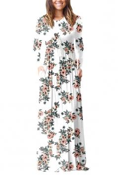 Womens Vintage High Waisted Pocket Flower Printed Maxi Dress White