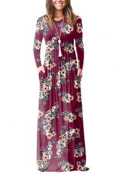 Womens Vintage High Waisted Pocket Flower Printed Maxi Dress Ruby