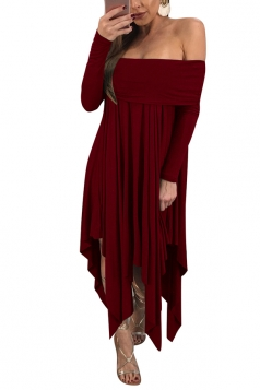 Womens Sexy Long Sleeve Oversized Asymmetrical Hem Tube Dress Ruby