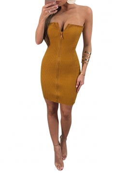Womens V Neck Strapless Zipper Textured Tube Clubwear Dress Yellow