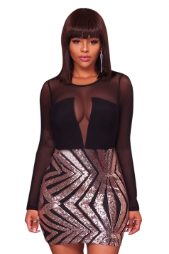 Sexy Fashion Long Sleeve Mesh Sheer Sequined Bottom Club Dress Silvery