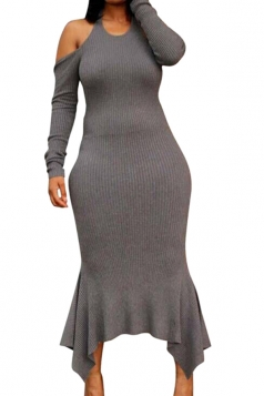 Long Sleeve Cold Shoulder Backless Ribbed?Knit?Sweater Maxi Dress