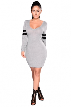 Womens Sexy Elastci V-Neck Long Stripe Sleeve Knit Bodycon Dress Gray
