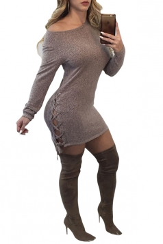 Womens Sexy One Shoulder Long Sleeve Lace Up Felt Bodycon Dress Gray