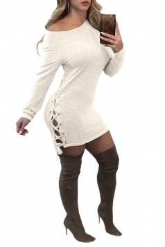Womens Sexy One Shoulder Long Sleeve Lace Up Felt Bodycon Dress White