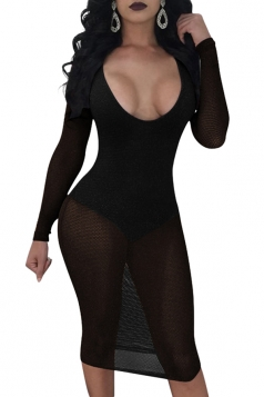 Womens Deep Round Neck Long Sleeve Sheer Mesh Midi Club Dress Black