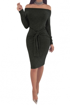 Elegant Off Shoulder Long Sleeve Bandage Waist Midi Pencil Dress Black