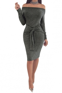 Elegant Off Shoulder Long Sleeve Bandage Midi Pencil Dress DARKk Gray