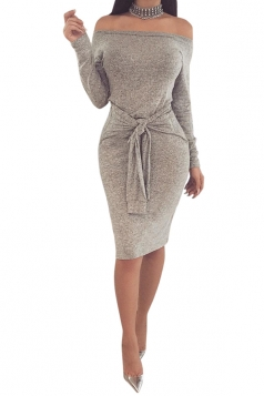 Elegant Off Shoulder Long Sleeve Bandage Waist Midi Pencil Dress Gray