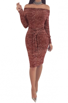 Elegant Off Shoulder Long Sleeve Bandage Waist Midi Pencil Dress Ruby