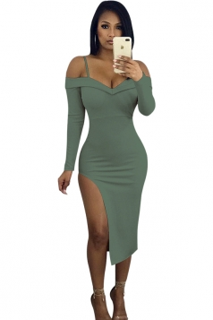 V-Neck Spaghetti Straps Long Sleeve Slit Bodycon Club Dress Army Green