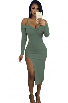V-Neck Spaghetti Straps Long Sleeve Slit Bodycon Club Dress Army Green