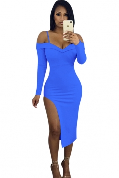 V-Neck Spaghetti Straps Long Sleeve High Slit Bodycon Club Dress Blue