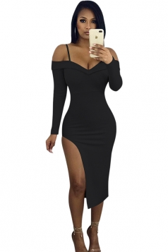 V-Neck Spaghetti Straps Long Sleeve High Slit Bodycon Club Dress Black