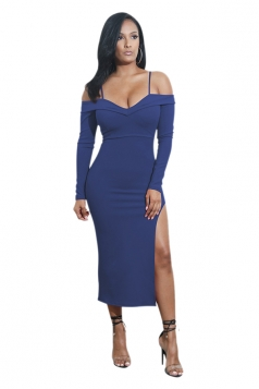 Womens Spaghetti Straps Long Sleeve High Slit Club Dress Sapphire Blue