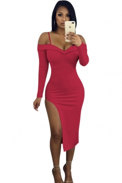 V-Neck Spaghetti Straps Long Sleeve High Slit Bodycon Club Dress Ruby