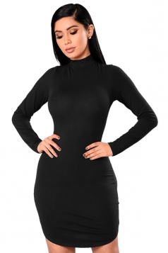 High Collar Long Sleeve Back Lace Up Cut Out Plain Bodycon Dress Black