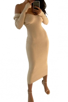 Womens Sexy Off Shoulder V-Neck Long Sleeve Plain Clubwear Dress Beige