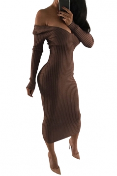 Womens Sexy Off Shoulder V-Neck Long Sleeve Plain Clubwear Dress Brown