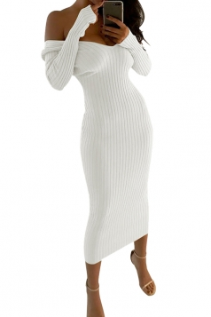 Womens Sexy Off Shoulder V-Neck Long Sleeve Plain Clubwear Dress White
