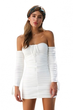 Womens Sexy Off Shoulder Ruffled Bandage Lace Up Clubwear Dress White