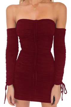Womens Sexy Off Shoulder Ruffled Bandage Lace Up Clubwear Dress Ruby