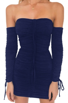 Womens Sexy Off Shoulder Bandage Lace Up Clubwear Dress Navy Blue