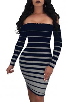 Womens Sexy Off Shoulder Striped Bodycon Clubwear Dress Blue