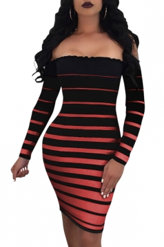 Womens Sexy Off Shoulder Stripe Bodycon Clubwear Dress Watermelon Red