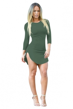 Womens Sexy Crew Neck Side Slit Long Sleeve Bodycon Dress Army Green