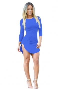 Womens Sexy Crew Neck Side Slit Long Sleeve Bodycon Mini Dress Blue