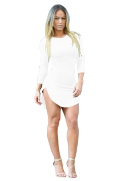 Womens Sexy Crew Neck Side Slit Long Sleeve Bodycon Mini Dress White