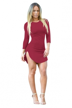 Womens Sexy Crew Neck Side Slit Long Sleeve Bodycon Mini Dress Ruby
