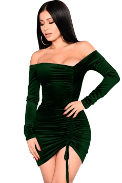 Womens Sexy Off Shoulder Lace Up Bandage Clubwear Dress Dark Green