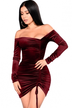 Womens Sexy Off Shoulder Lace Up Bandage Bodycon Clubwear Dress Ruby