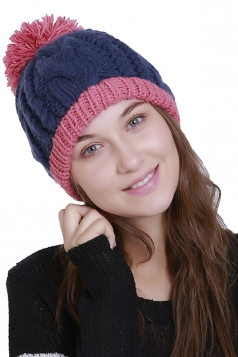 Womens Warm Faux Fuzzy Fur Color Block Cable Knit Cuff Beanie Hat Pink