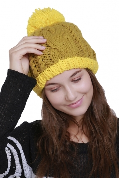 Womens Faux Fuzzy Fur Color Block Cable Knit Cuff Beanie Hat Yellow