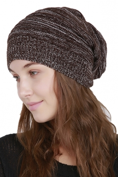 Womens Warm Oversize Slouchy Cable Knit Skullies Beanie Hat Coffee