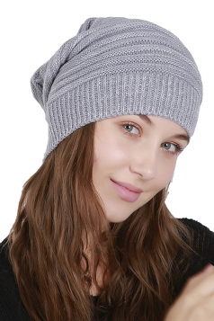 Womens Warm Oversize Slouchy Cable Knit Skullies Beanie Hat Gray