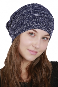 Womens Warm Oversize Slouchy Cable Knit Skullies Beanie Hat Nvvy Blue