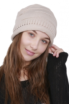 Womens Warm Outdodr Slouchy Cable Knit Skullies Beanie Hat Apricot