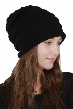 Womens Warm Outdodr Slouchy Cable Knit Skullies Beanie Hat Black